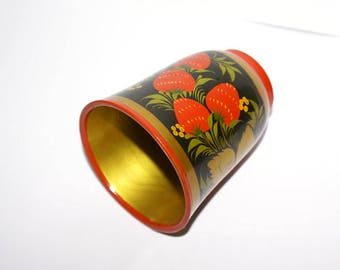 Traditional Russian Wooden Cup, Strawberries Golden Leaves, Folk, Ornaments, hand painted