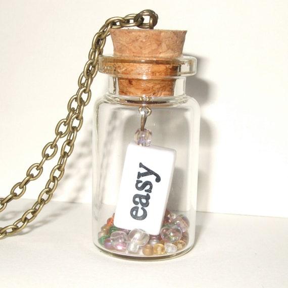 Word Necklace, Easy Hard, Glass Bottle, Typography Jewelry, Bottle Necklace, Modern Jewelry, Mood Jewelry, Words in a Bottle, Words Pendant