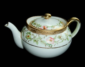 Antique Morimura Japan Teapot with Gold Moriage Apple Blossoms Beading Nippon Circa 1940s Fine China