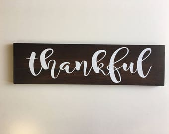 Hand Painted Wood Wall Thankful Sign Decor Thanksgiving plaque