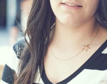 Tiny Star Necklace. Dainty Star Necklace. Gold Plated Necklace. Delicate Star Necklace. Short Star Necklace. Layering Necklace. Minimalist