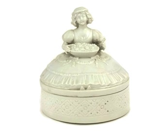 Antique Porcelain Girls Jewelry Box.