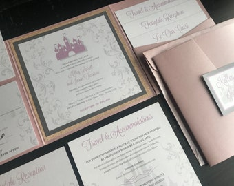 Fairytale Custom Pocket Wedding Invitation Suite | Wedding Announcements | Fairytale Inspired | Castle | Rose Gold | Blush | Silver | Pink