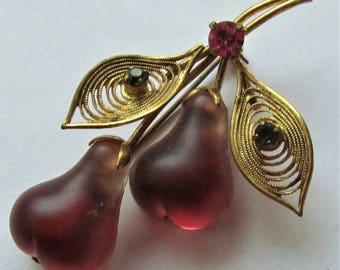 Austrian Crystal Fruit Glass Brooch Vintage Pear Austrian Glass Pin
