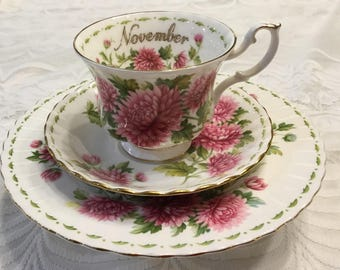 Royal Albert November Flower of the Month Trio