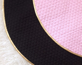 Handmade Baby Mat - Black & Gold Mat - Round Baby Play Mat - Lightly Padded Mat - Play Mat Gift - Baby Nursery Decor- Photo Prop - Baby Gift