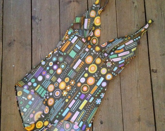 Vintage Swimsuit / Small - Medium / 1970's happy graphic retro One Piece