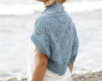 knit spring bolero in pure merino wool, summer light jacket, beachwear summer shoulderwarmer. Made to order merino wool knitted bolero.
