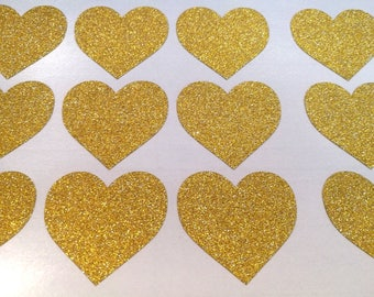 18 glitter heart stickers, kids birthday party, wedding envelope seals, heart labels, gold envelope seals