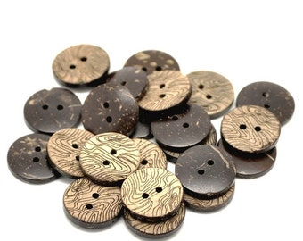 10 Brown Coconut Shell Buttons 15mm -  Rustic Waves
