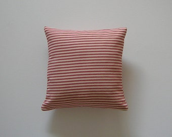 Ticking Striped 12x12 Pillow Cover Red Stripes On Cream Background