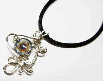 Wire Wrap Handmade Glass Taxidermy Italian Evil Eye Pendant with Necklace