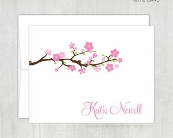 Personalized Note Cards Set • Cherry Blossoms {FOLDED} • 10 Note Cards with Envelopes • Personalized Stationery • Personalized Stationary