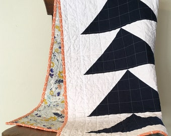 Flying Geese Baby Quilt, Modern and Minimal Baby Girl Quilt in Navy, White, and Peach, with Floral Backing