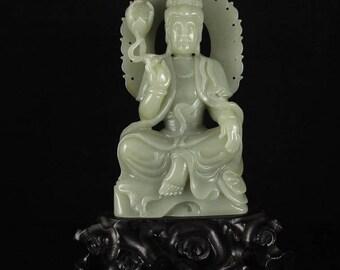 N4391 Vintage Chinese Hetian Jade Lotus Kwan-yin Statue
