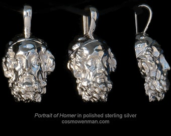 Portrait of the Blind Homer, necklace pendant