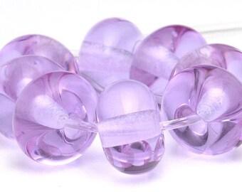 Handmade Lampwork Spacer Bead Set Lavender Purple African Violet Transparent SRA