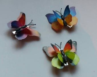 Hairpins; rainbow butterflies. Set of 3 pieces.