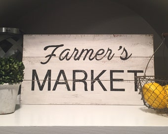 Farmer's Market sign, rustic, wood pallet, hand painted, farmhouse sign