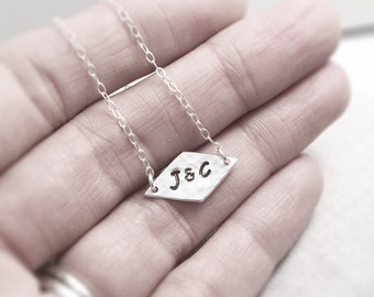 Double Initials Necklace | Hand Stamped | Sterling Silver Couples Necklace | Personalised Geometric Necklace | Mother's Day Gift