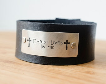Christ Lives in Me Custom Text on Minimal Black Leather Cuff Scripture Cross