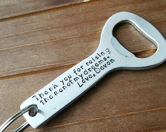 Thank you For Raising The Man Father In Law Personalized Bottle Opener Groomsmen Groom Father of the Bride Groom Gift Wedding Favor Gift