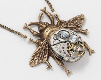 Steampunk Necklace, Bumblebee Necklace, Gold Bumblebee with Vintage Silver Watch Movement, Pearl & Blue Crystal, Bee Pendant, Jewelry Gift