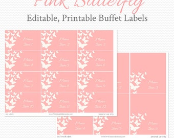 Buffet Labels and Place Cards, Pink and White, Butterfly Bridal Shower Decoration, Baby Shower Decor, Party Supplies - Editable, Printable
