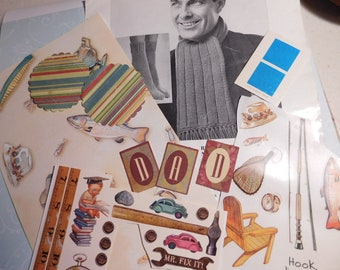SALE - Father's Day Paper Ephemera Pack Scrapbook Kit for Project Life, Snail Mail, Planners - More than 40 Pieces