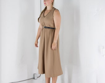 ON SALE Brown Retro Sleeveless Dress / Flared Vintage Dress / Fifties Structured Dress