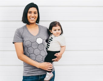 Mommy and Me Matching Shirts Mother Gift, Mother Daughter Gift Set, Hive Mom T-Shirt and Honey Bee Baby One Piece or Toddler Youth Tshirt