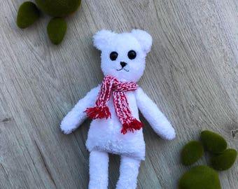 Polar bear plush / fabric doll hadmade, rag doll, heirloom doll