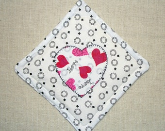 Valentine Heart Pot Holder, Applique Heart, Single Hot Pad, Insulated Trivet, For the Cook, For the Kitchen