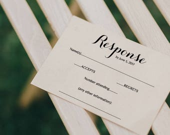 Printable Wedding RSVP Template | RSVP card | Byron | Any colours | Editable Word template | Response template