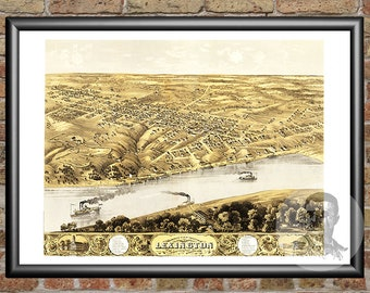 Lexington map etsy lexington missouri art print from 1869 digitally restored old lexington mo map publicscrutiny Images