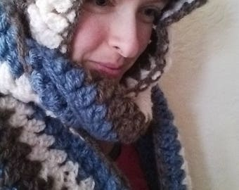 Hooded Scarf in Blue, Brown, White - snood, scoodie