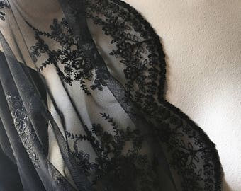 BLACK Lace Fabric Embroidered for Blouses, Dresses, Gowns, Veils  EMBL 2bl