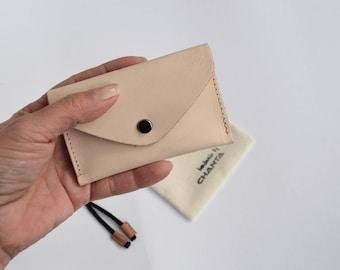 Leder Visitenkarten Etui Mini Geldbörse  Leder Brieftasche  für Herren für Damen  natur Unisex