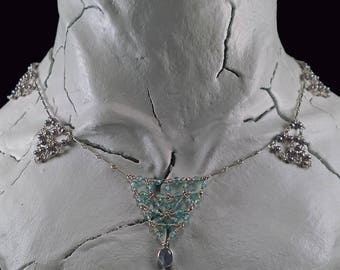 Sterling Silver Necklace with Apatite, Neon Fluorite and Pewter Freshwater Pearls