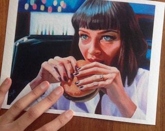 Art Print Reproduction // Hungry Eyes // From Original Acrylic Painting // Movie Art // Pulp Fiction // 22 cm x 17 cm // Cynthia Katz