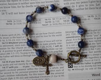 Adult Rosary Bracelet--Blue Sodalite