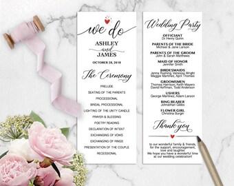 We Do Wedding Program Printable Template, DIY Wedding Program, We Do Program Editable, Ceremony Printable, PDF Instant Download WD127