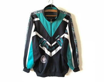 Vintage Navy Blue Green JAKO Football Jacket Retro Parka Jogging Aerobics Track Suit Jacket Hipster Running Sport Coat Size XXL Large