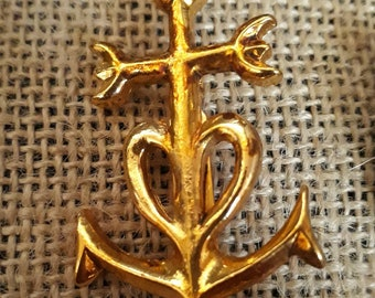 Gold plated Camargue cross brooch