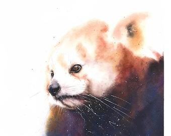 RED PANDA PRINT - animal print, panda watercolor, panda decor, panda bear print, panda wall art, panda painting, panda lover gift