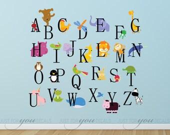 Animal Wall Decal, Animal Wall Sticker, Alphabet Wall Decal, Alphabet Wall Sticker, Playroom Wall Decal, Playroom Wall Sticker 01-0003