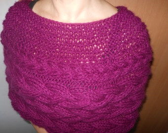 Cable Knitted Shawl Capelet Wedding Shrug Poncho Neck Warmer Burgundy/Maroon