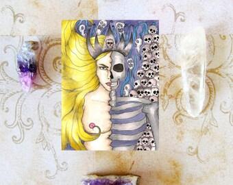 Pagan Art Norse Goddess Hel Prayer Card Nordic Goddess Hela Art Dark Goddess Sacred Feminine Asatru Magick Occult Fantasy Art Spiritual