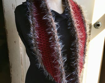 Red Circle Scarf with Faux Fur Trim Red Wool Scarf