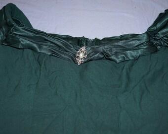 Vintage 1970's - Alfred Angelo Hunter Green Ladies Garment Union Formal Dress